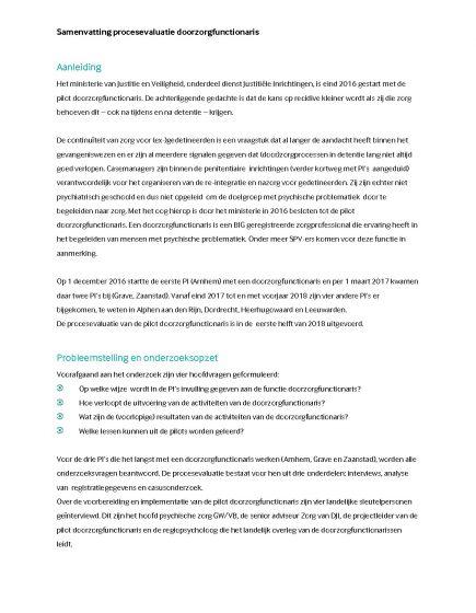 Samenvatting procesevaluatie pilot Doorzorgfunctionaris PI's