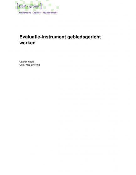 Evaluatie-instrument gebiedsgericht werken – Evaluatie-instrument gebiedsgericht werken