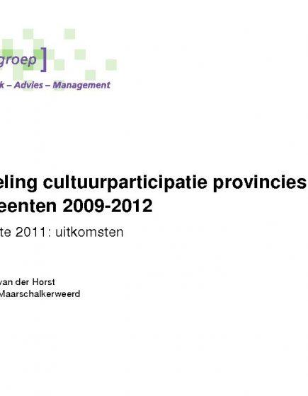 Cultuurparticipatie 2009-2012 – Uitkomsten digitale enquête 2011