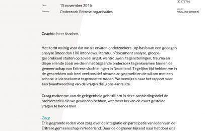 Aanbiedingsbrief aan minister L. Asscher bij Rapport Eritrese organisaties